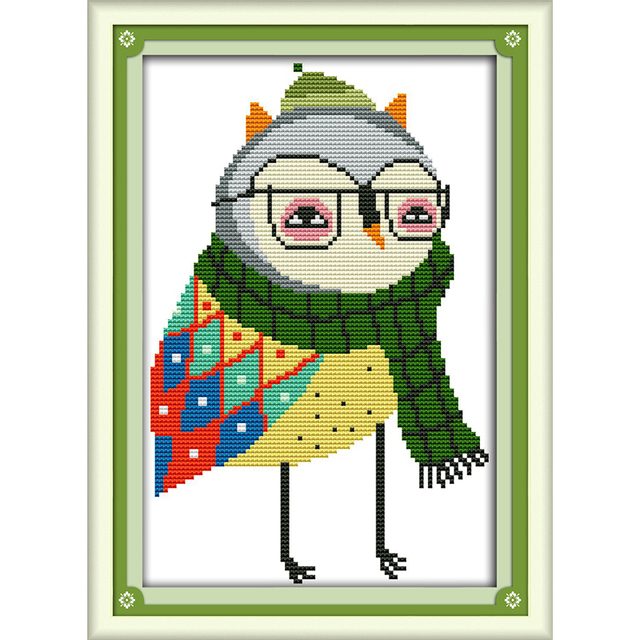 Joy Sunday Mr Owl Cross Stitch 11ct 14ct Dmc Cross Stitch Sets Diy