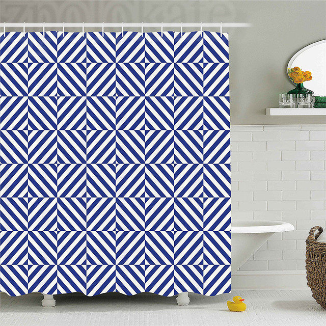 navy blue decor shower curtain symmetric and asymmetric geometric rh aliexpress com bathroom decor sets at walmart bedroom decor etsy
