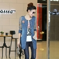 Primavera e no outono casaco feminino denim casaco plus size solto tarja patchwork de médio-longo-manga longa jaqueta jeans outerwear