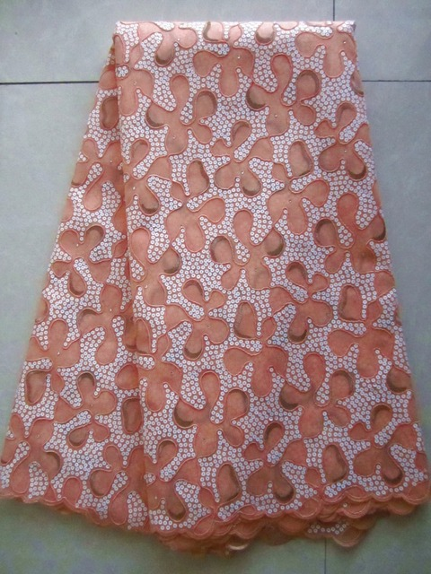 Free shipping african lace fabric++swiss lace high quality emboridery organza lace fabric material 5yards/pc