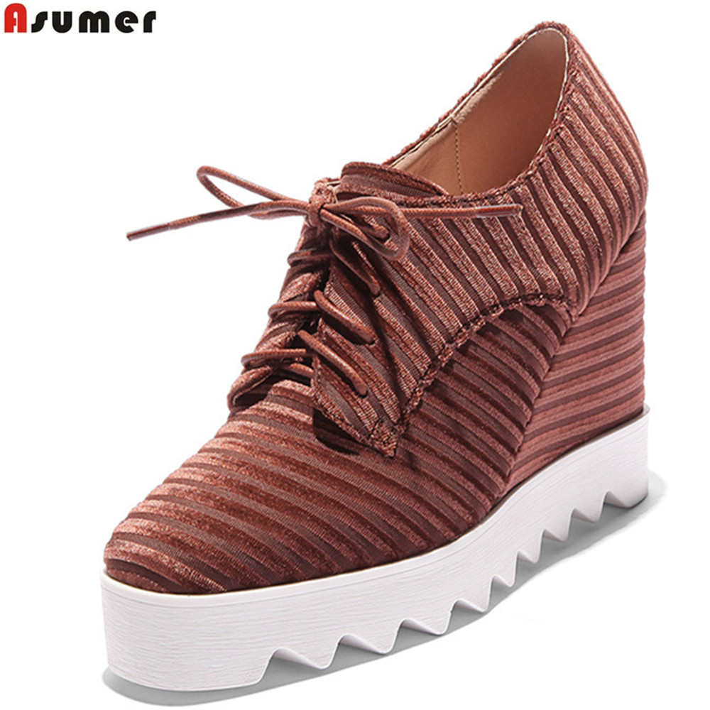 ASUMER black brown square toe lace up ladies spring autumn wedges shoes platform women high heels
