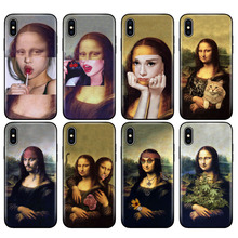 Black tpu case for iphone 5 5s SE 2020 6 6s 7 8 plus x 10 case silicone cover for iphone XR XS 11 pro MAX case mona lisa Pattern