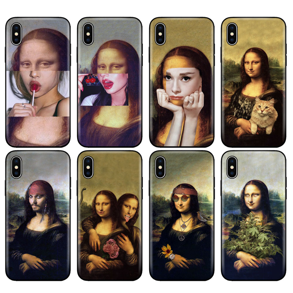 Black tpu case for iphone 5 5s se 6 6s 7 8 plus x 10 case silicone cover for iphone XR XS 11 pro MAX case mona lisa Pattern image