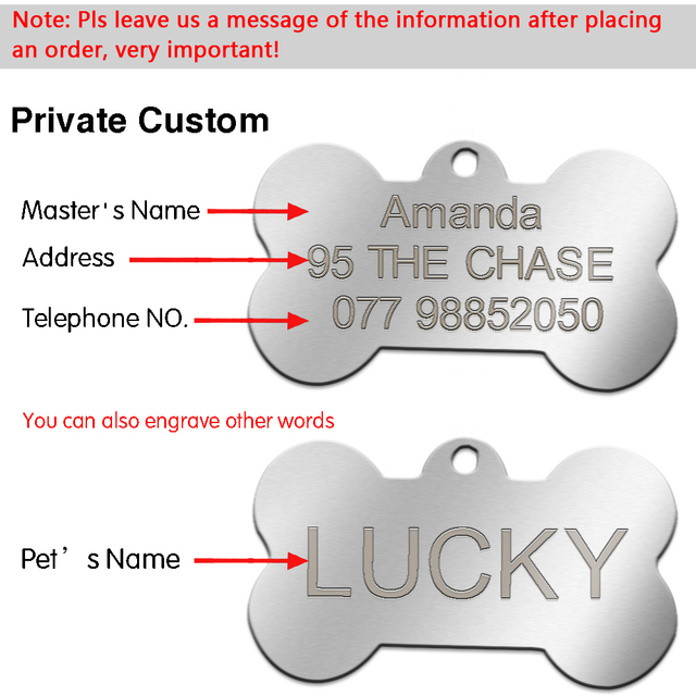 Stainless Steel Custom Engraved Dog Tag Double Sided 7 Shapes Personalized  Dog & Cat  ID Tags With Free Clicker