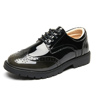 Image 2 - 2020 New Boys School Leather Shoes For Kids Student Performance Wedding Party Shoes Black Casual Flats Light Children Moccasins