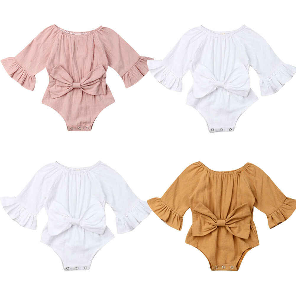 New Cute Infant Baby Girl Clothes Long Sleeve Bodysuits Summer One Piece Outfit