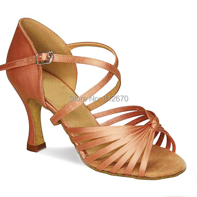 ФОТО  shippng 6cm heel adult women satin five belts Latin shoes isointernational square ballroom dance 6337