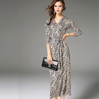 COSY Fashion Runway 2017 Sexy V Neck Long Sleeve Sashes Leopard Printing Dress Sexy Beach Party