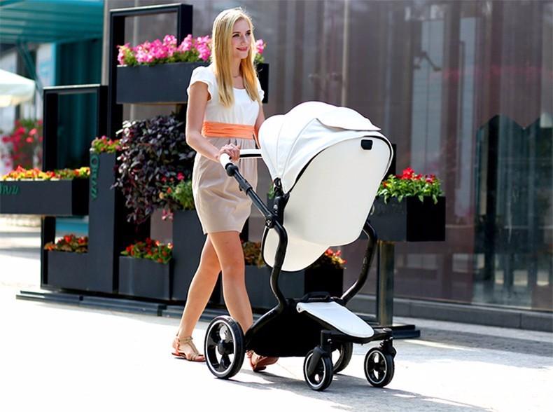 Foofoo wózka dziecięcego Wysokiej krajobrazu może zmienić na spania koszyk skóry 4