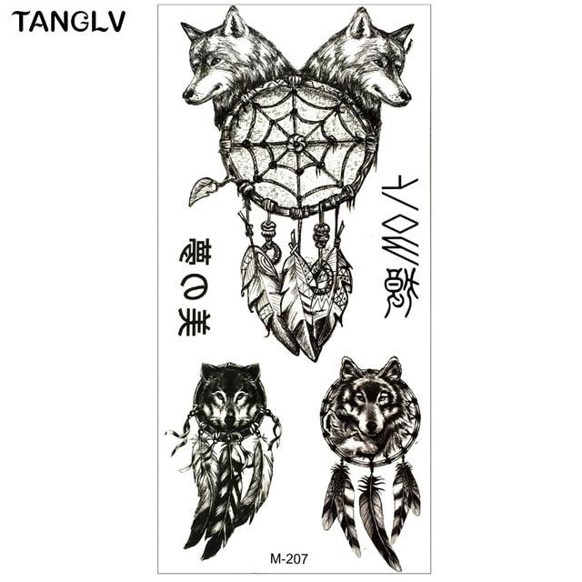 Tanglv Marque Bras Tatouage Indien Noir Loup Conception Tatouage