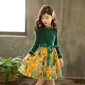 Image 3 - Girls Knitted Dress Autumn Winter Girls Dress Floral Pattern Girls Party Dress Kids Teenage Clothes For Girls 6 8 10 12 13 14