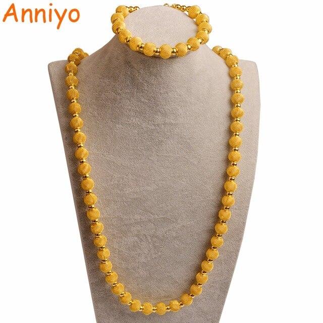 Anniyo 82 cm חרוזים שרשרת 24 cm צמידים לנשים אופנה זהב צבע כדור תכשיטי קובעת (כדור גודל 1.2 cm) #103606