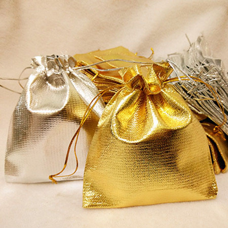 10pcs/lot 7X9/9X12cm Metallic Foil Gold Organza Drawstring Jewelry Gift Bags Wedding Decorations Party Favors Candy Pouches 75z