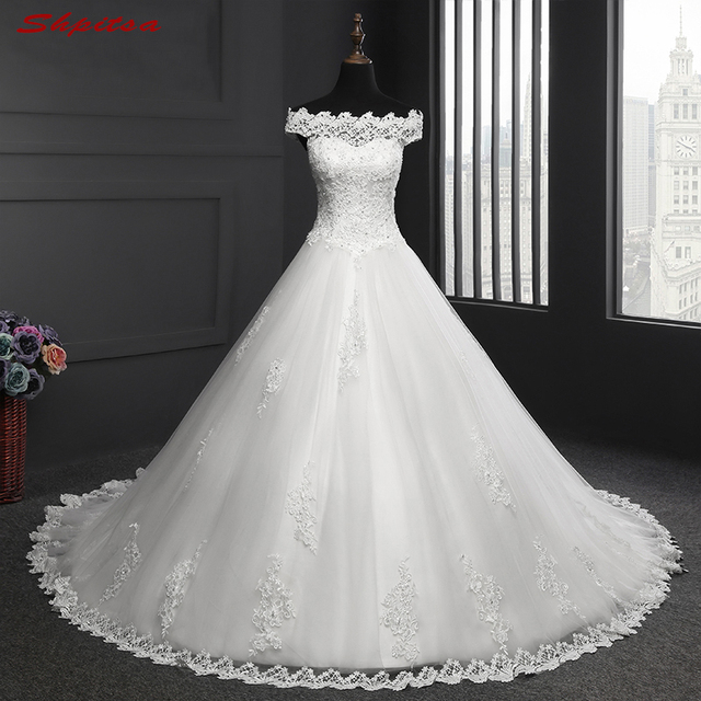 Elegant Lace Wedding Dresses Tulle Beaded Sequin Wedding Gowns ...