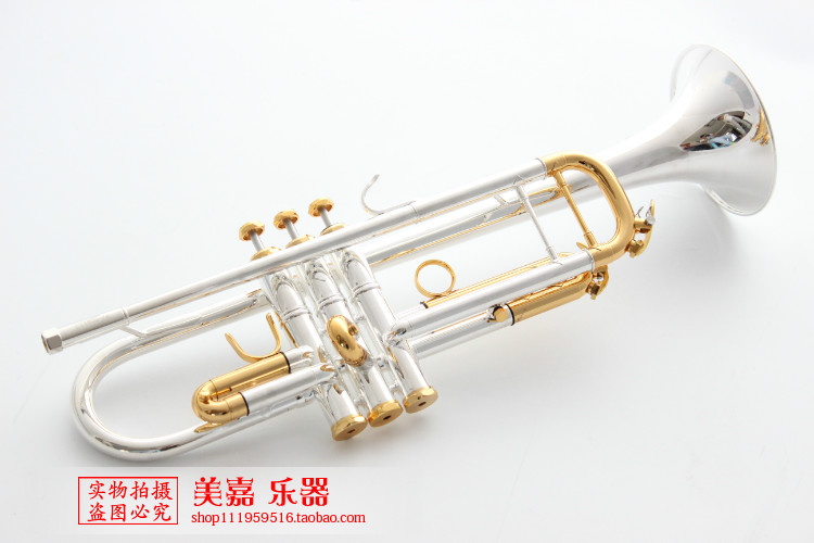 Professional Bach LT180S-72 Bb Trumpet Stainless Steel Silver and Gold Plated Type Small Trompeta Brass Instruments Trumpete