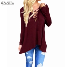 ZANZEA Women 2018 Spring Sexy V Neck Hollow Out Casual Loose Blouse Tops Hooded Solid Long Sleeve Blusas Shirts Plus Size