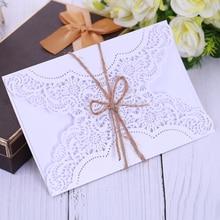 Eleva 19 * 13CM σας ευχαριστώ κάρτες επέτειο πώλησης 2018 προσκλήσεις γενεθλίων κόμμα ζούγκλα γενεθλίων προσκλήσεις λέιζερ κομμένες γαμήλιες προσκλήσεις λευκό / χρυσό