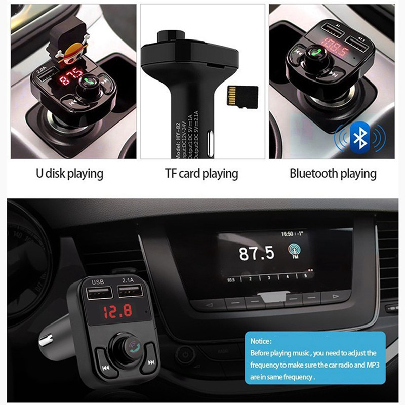 VicTsing Bluetooth MP3 Player FM Transmitter Handsfree Wireless Radio Adapter USB Car Charger 2.1A MP3 Player SD Music Playing   (2)