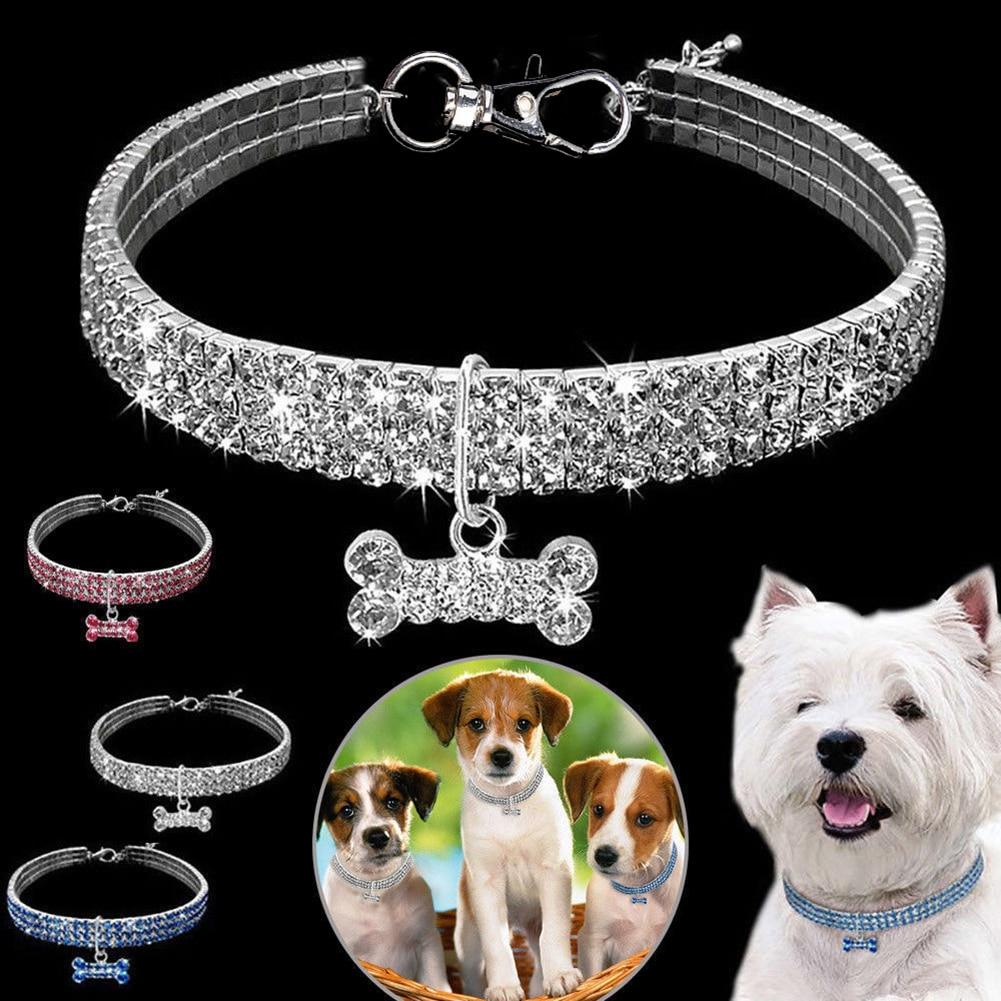 1PCS 3 Rows of Rhinestone Stretch Line Pet Necklaces Dog  1