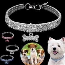 1 piezas 3 filas de diamantes de imitación de línea para mascotas collar de perro gato collares de cristal collares de perro accesorios para mascotas