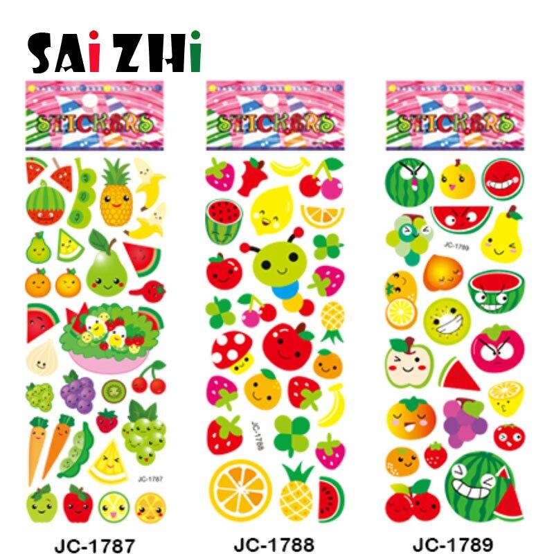 Saizhi 5Pcs Different 3D Cute Cartoon Stickers Toys Pegatinas Funny Toy For Children On Scrapbook Phone Laptop Fruit SZ1880
