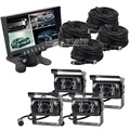 DIYKIT 7 inch 4 Split QUAD Rear View Monitor Car Monitor +4 x CCD IR Night Vision Rear View Camera Waterproof For Truck Bus