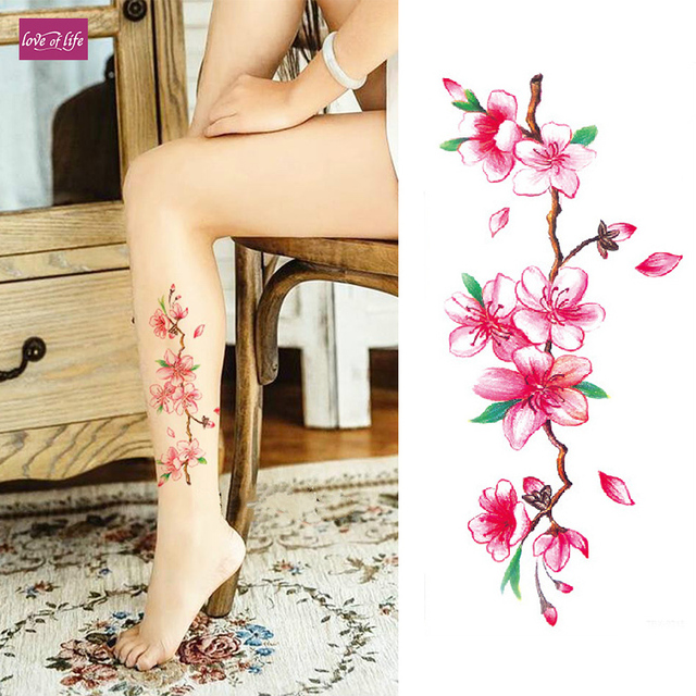 3d Lifelike Cherry Blossoms Rose Big Flowers Waterproof Temporary