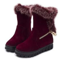 2016 NEW Warm Thick Fur Snow Boots Flat Platform Side Zipper Cold Winter Shoes For Woman Plush Waterproof Boots