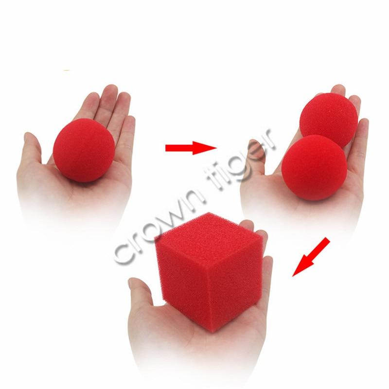 1 Block/cube 2 Sponge Balls 1set Magic Tricks Props Magic Show Classical Illusion Magic Close Up Street