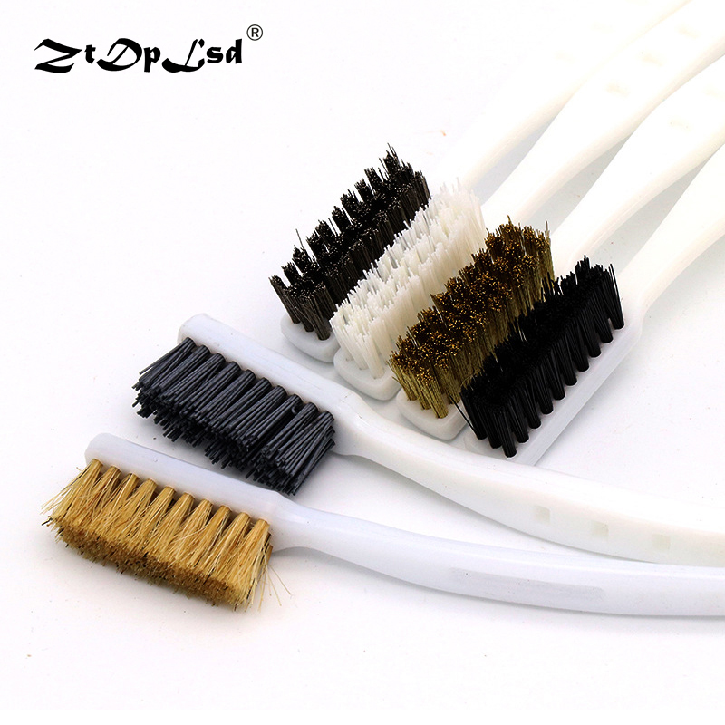 ZtDpLsd 1Pc Brass Wire Clean Tooth Brush White Plastic Handle DuPont Copper Wire Nylon Industrial Carving Hand Rust Removal Tool