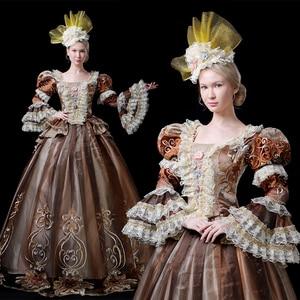 18th века Rococo Готический Мария Антуанетта викторианской вечерние платье период Театр рюшами Для женщин костюмы