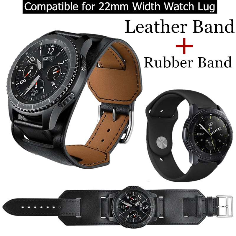 Genuine <font><b>Leather</b></font> Band For <font><b>Samsung</b></font> Galaxy Watch <font><b>46MM</b></font> 22MM Tour Bracelet <font><b>Leather</b></font> Strap Watchband for Gear S3 Classic/Frontier image