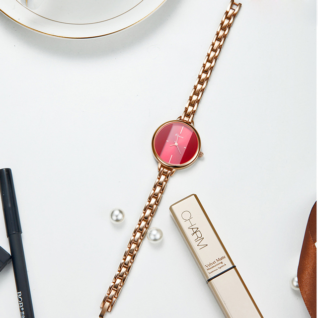 Kimio Brand Women Red Dress Watch Ladies Stainless Stee Bracelet Quartz Watches 2018 Female Clock Relogio Feminino Montre Femme