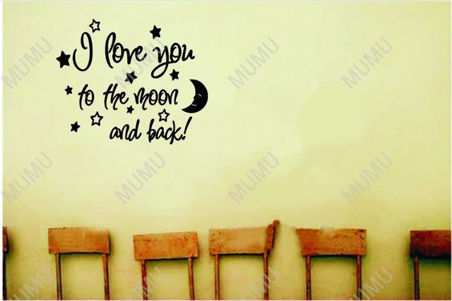 I Love You To The Moon And Back Cute Baby Nursery Wall Art Sayings Vinyl