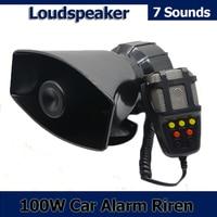 New 100W 7 Sound Car Motorcycle Electronic Warning Siren Motorcycle Alarm Firemen Ambulance Loudspeaker With MIC