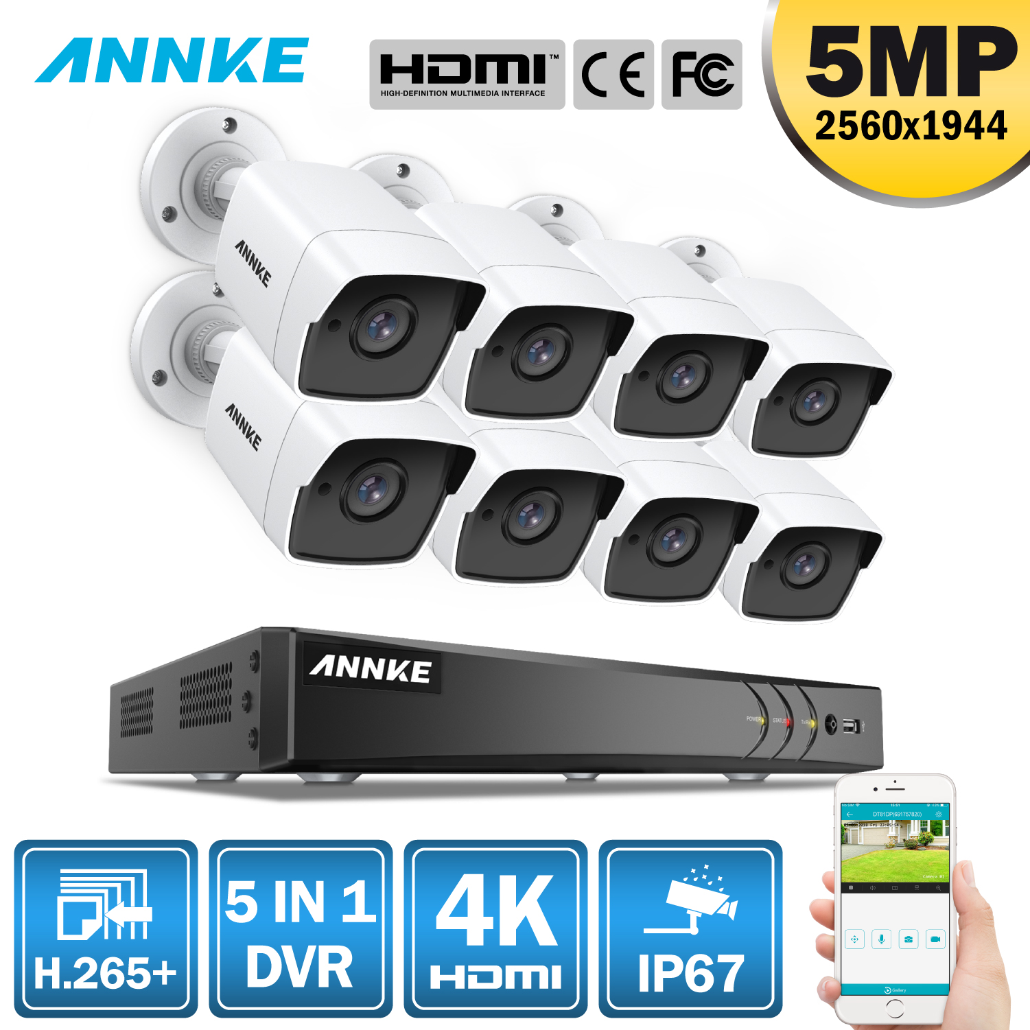 ANNKE 8CH 5MP 5IN1 Ultra HD Video Security Camera System H.265+ With 8PCS TVI Bullet Weatherproof Outdoor Surveillance Kit