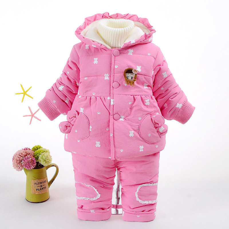 Children Clothing Sets Snow Jackets+Pant 2pcs Set Baby Boy Girls Cotton Coats Jacket Fashion Cute Cartoon Warm Hooded Outerwear
