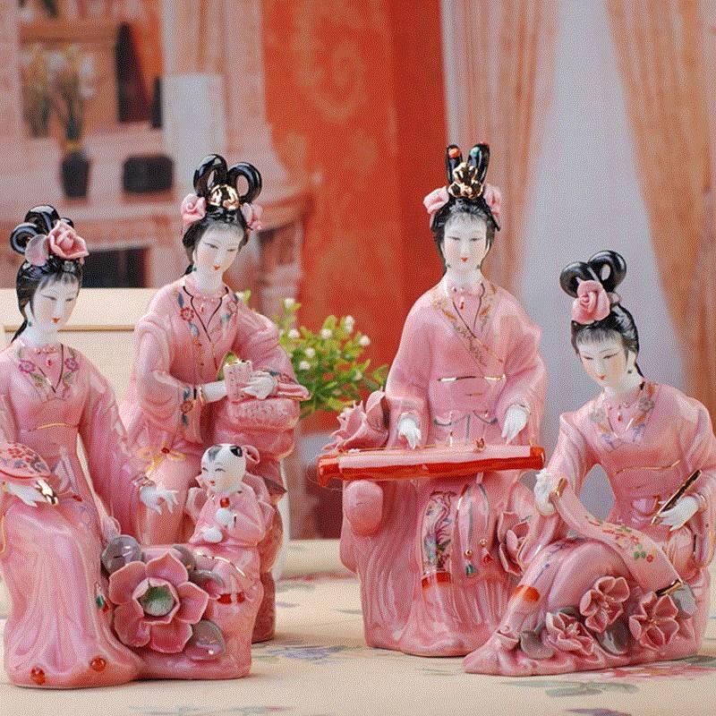 Классический Яркий Леди окрашенные искусство женский Рисунок Статуя керамические античные китайские ангелы фарфоровый домашний декор 4 шт