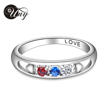 UNY Fashion wedding rings Rhodium plated rings for women Customized Engrave Jewelry Personalized Valentine Gifts Free Shipping