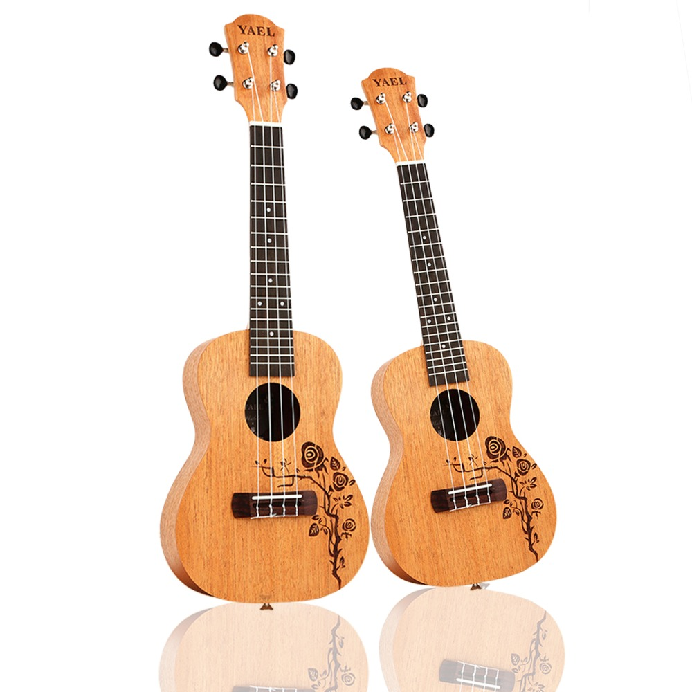 23 inch /21 inch Ukulele Concert 4 Strings Musical Instruments 18 Frets Mahogany Flower vine Choose 23 inch /21 inch Ukulele Concert 4 Strings Musical Instruments 18 Frets Mahogany Flower vine Choose