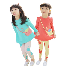 Baby girl clothes spring and fall cotton excellent quality clothing long-sleeved T-shirt Pants cartoon print suit  Children wear