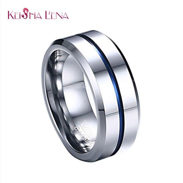 Keisha Lena Thin Blue Line Tungsten Ring Wedding Brand 8mm Pure Carbide Rings For