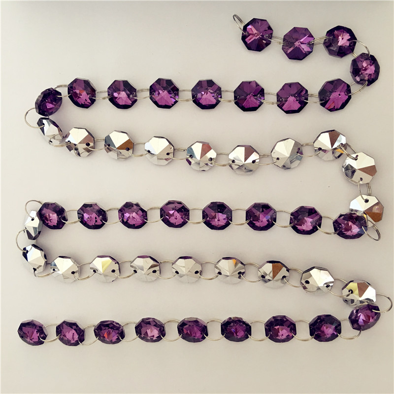 100 Meters Crystal Amethyst Silver Plated 14mm Octagon Bead Chain For Wedding Christmas Party Event Decoration