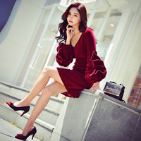 Dabuwawa Winter Sexy V neck Party Dress for Girls Ladies Women Vintage Wine Red Lantern Sleeve Ruffle Mini Dresses D18DDR026