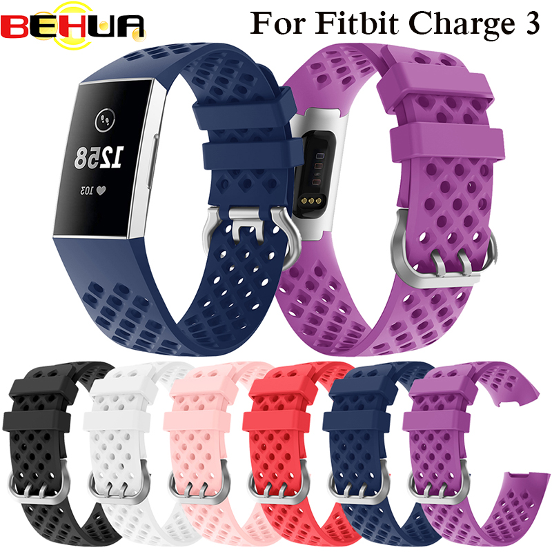 Soft Silicone Sports Band For Fitbit Charge 3 Bracelet Watchband Strap For Fitbit Charge3 Watch Straps Band With Metal Buckle