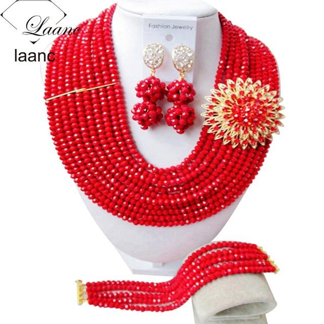 Moda De Boda Nigeriano Beads Africanos Joyería Conjunto Rojo de Fiesta AL012