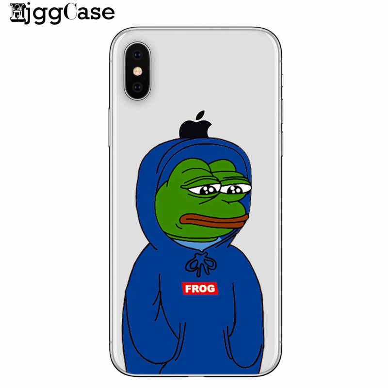 Für iPhone 7 7 Plus 6 6 S 6 Plus 8 8 Plus X 5 5 S SE XS Max samsung Pepe Memes Traurig Frosch Weichen TPU Telefon Fall Abdeckung Coque Fundas