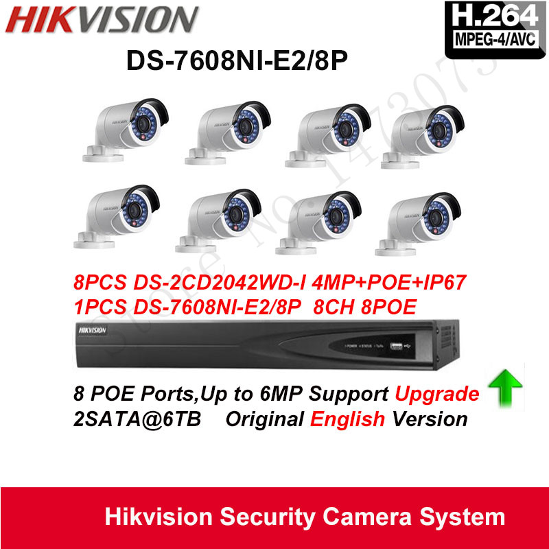 Hikvision Security Camera System 4MP Mini Bullet IP Camera 8pcs DS-2CD2042WD-I POE IP67 with 8ch POE NVR DS-7608NI-E2/8P 2SATA hikvision ip camera 4mp bullet security camera with poe network camera ds 2cd2042wd i video surveillance 4pcs lot dhl shipping
