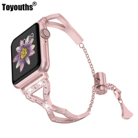 For Apple Watch Band 38mm 40mm Womens iWatch Bling Jewelry Wristband Steel with Rhinestone Bangle Replacement Strap Metal Chain