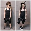 2017 summer children boys and girls leisure sports solid color cotton workers word vest hail pants suit 3-11 years old